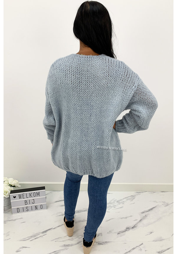 JEANS BLUE - 'ADRIANA' - COZY KNITTED BALLOON VEST