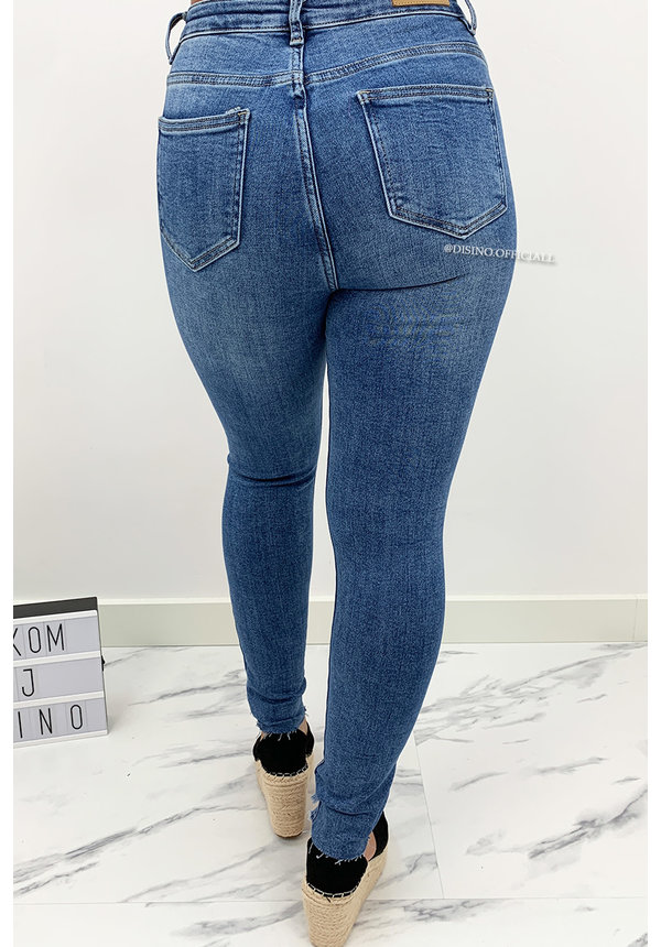 QUEEN HEARTS JEANS - BLUE - HIGH WAIST SKINNY JEANS - 828