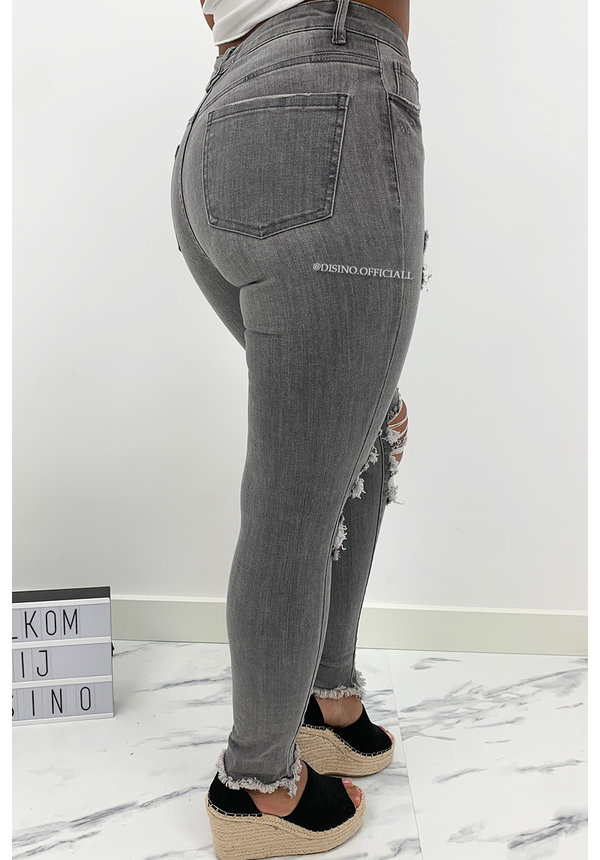 QUEEN HEARTS JEANS - GREY - HIGH WAIST RIPPED SKINNY JEANS - 847