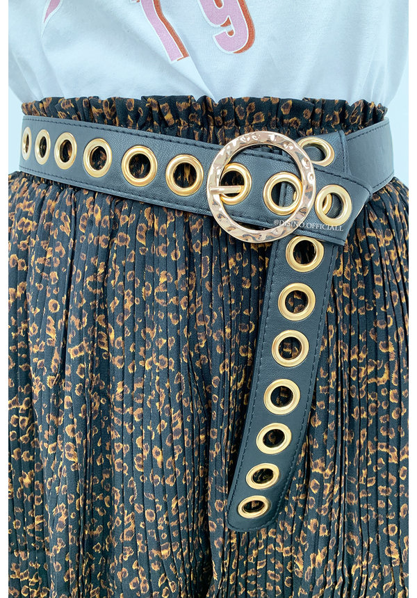GOLD - 'EYELET BELT' - FAUX LEATHER RING HOLE BELT