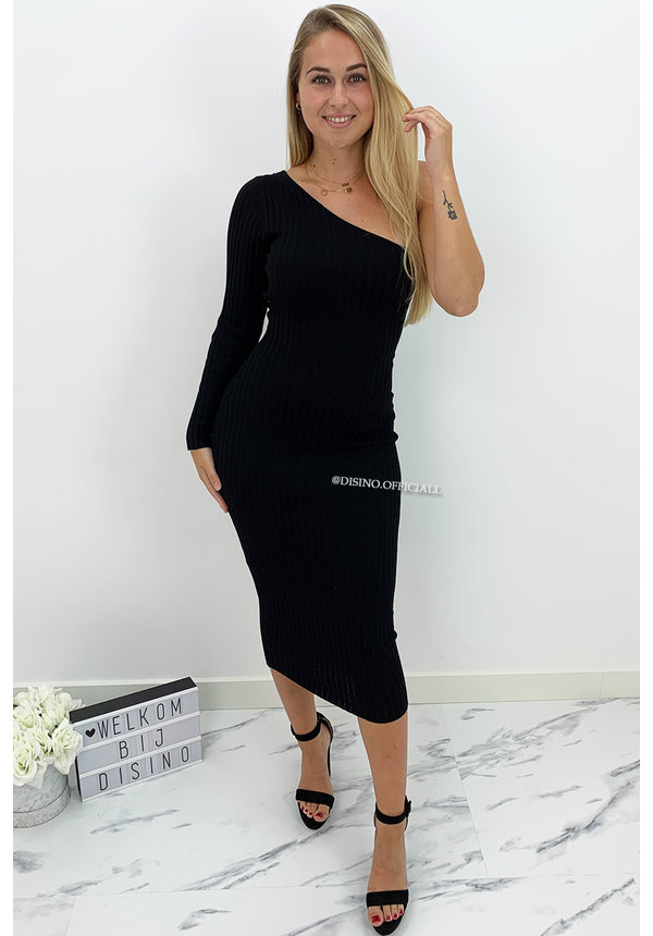 BLACK - 'SHANNA MIDI' - ONE SLEEVE RIBBED MIDI DRESS