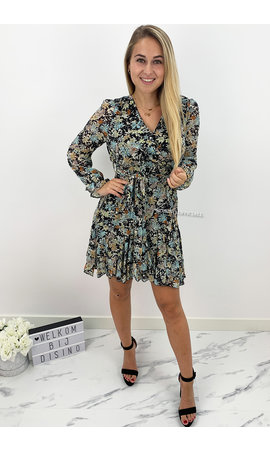 BLACK - 'MARIE SHORT' - FLORAL INSPIRED RUFFLE LONG SLEEVE DRESS