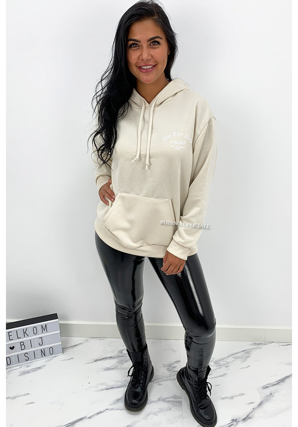 BEIGE WHITE - 'DIE FOR DIOR HOODIE' - SOFT TOUCH INSPIRED HOODIE