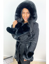BLACK - 'TABITHA LONG' - SUPER QUALITY LONG LAMMY FUR COAT