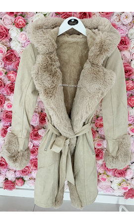 BEIGE - 'TABITHA LONG' - SUPER QUALITY LONG LAMMY FUR COAT