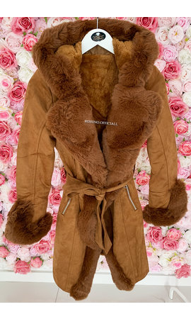 CAMEL - 'TABITHA LONG' - SUPER QUALITY LONG LAMMY FUR COAT