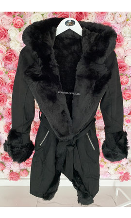 BLACK - 'TABITHA LONG' - SUPER QUALITY LONG LAMMY FUR COAT