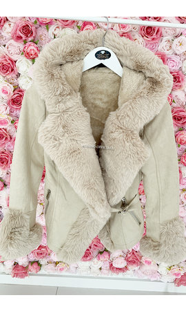BEIGE - 'TABITHA' - SUPER QUALITY LAMMY FUR COAT