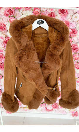 CAMEL - 'TABITHA' - SUPER QUALITY LAMMY FUR COAT