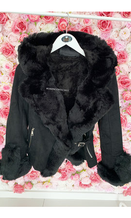 BLACK - 'TABITHA' - SUPER QUALITY LAMMY FUR COAT