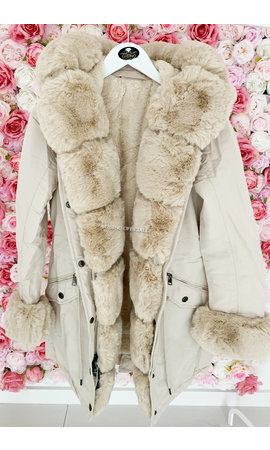 BEIGE - 'HAILEY' - PREMIUM QUALITY BIG FUR WINTER PARKA