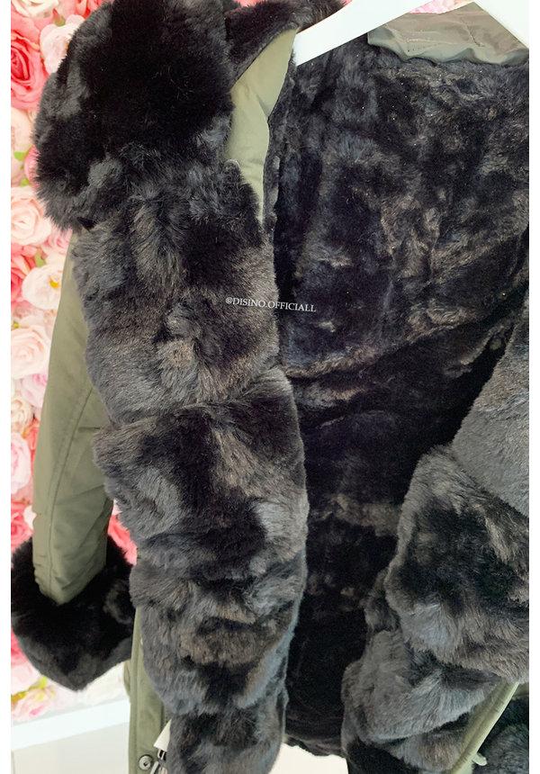KHAKI GREEN - 'HAILEY' - PREMIUM QUALITY BIG FUR WINTER PARKA