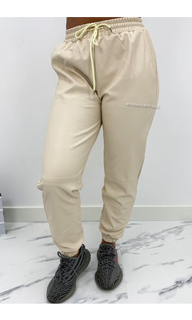 BEIGE - 'TARA' - VEGAN LEATHER JOGGER PANTS