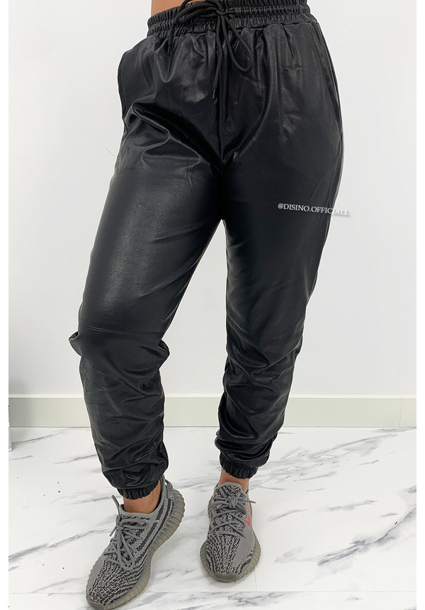 BLACK - 'TARA' - VEGAN LEATHER JOGGER PANTS