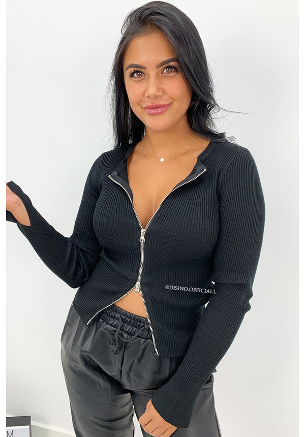 BLACK - 'KENDALL' - ZIPPED TOP