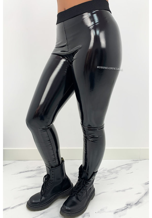 BLACK - 'JENNER' - HIGH WAIST VINYL PANTS WITH BAND