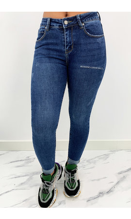 HELLO MISS - DARK BLUE - HIGH RISE SKINNY JEANS - 973