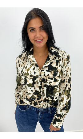 ARMY GREEN - 'ROBYN' - OVERSIZED LEOPARD PRINT BLOUSE