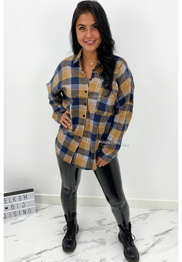 BLUE - 'BOYFRIEND BLOUSE' - OVERSIZED CHECKED ROCK 'N ROLL BLOUSE