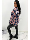 PINK - 'BOYFRIEND BLOUSE' - OVERSIZED CHECKED ROCK 'N ROLL BLOUSE