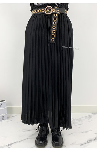 BLACK - 'VALLERIE' - SATIN PLISSE MAXI SKIRT