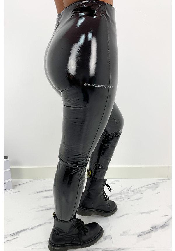 BLACK - 'KHLOE' - HIGH WAIST VINYL PANTS WITH ZIP