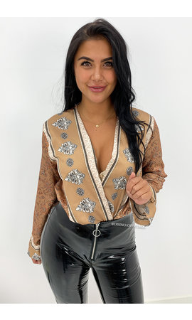 CAMEL - 'MARRAKESH' - INSPIRED BOOHOO SATIN BODYSUIT