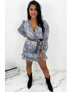 BLUE - 'SARAH' - SNAKE PRINT LONG SLEEVE DRESS
