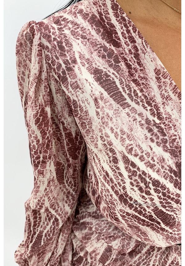 WINE RED - 'SARAH' - SNAKE PRINT LONG SLEEVE DRESS