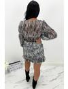 BLACK - 'SARAH' - SNAKE PRINT LONG SLEEVE DRESS