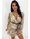 BEIGE - 'SARAH' - SNAKE PRINT LONG SLEEVE DRESS