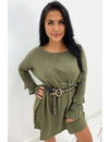 ARMY GREEN  - 'JACKY TRUMPET SLEEVE' - OVERSIZED COMFY SWEATER DRESS