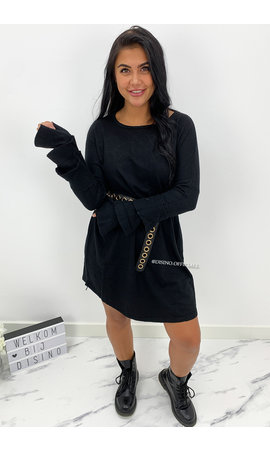 BLACK  - 'JACKY TRUMPET SLEEVE' - OVERSIZED COMFY SWEATER DRESS
