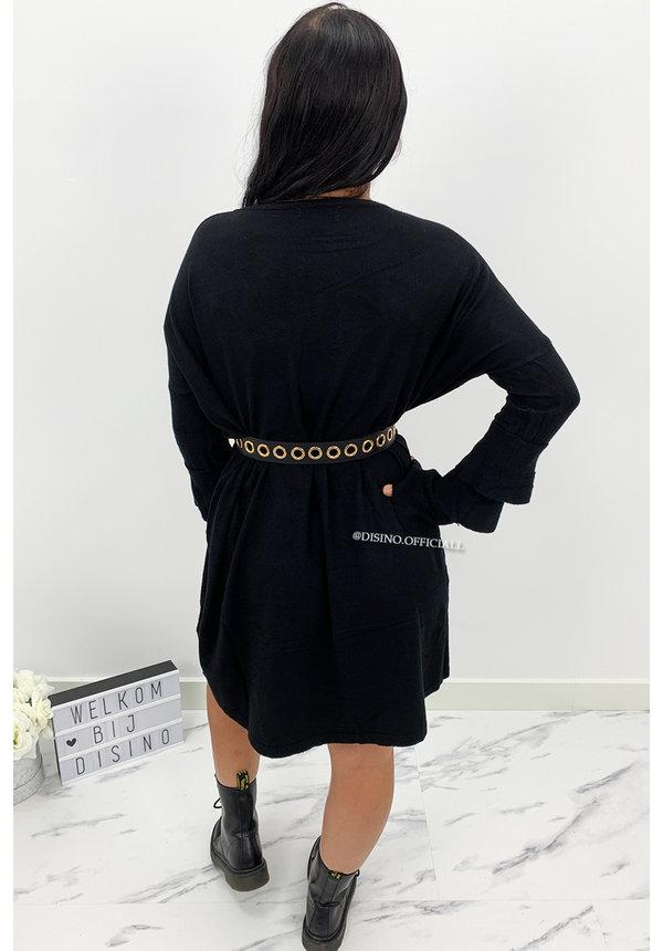BLACK  - 'JACKY TRUMPET SLEEVE' - OVERSIZED COMFY SWEATER DRESS