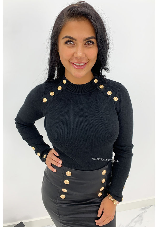 BLACK - 'OLLA' - SOFT TOUCH GOLD BUTTON TOP