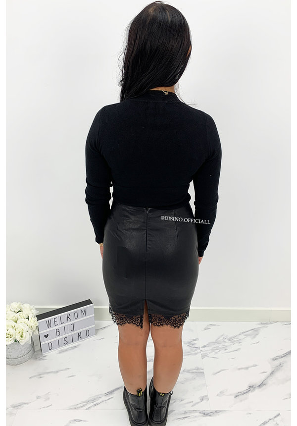 BLACK - 'DIOZA LACE' - VEGAN LEATHER GOLD BUTTON SKIRT WITH LACE