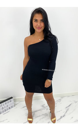 BLACK - 'SHANNA SHORT' - ONE SLEEVE RIBBED DRESS