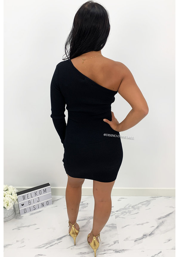 BLACK - 'SHANNA SHORT' - ONE SLEEVE RIBBED DRESS