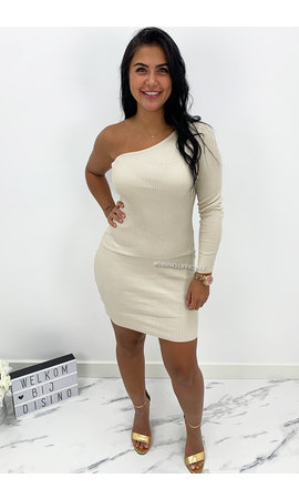 BEIGE - 'SHANNA SHORT' - ONE SLEEVE RIBBED DRESS