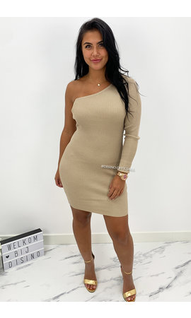NUDE - 'SHANNA SHORT' - ONE SLEEVE RIBBED DRESS