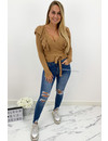 QUEEN HEARTS JEANS - BLUE - HIGH WAIST RIPPED SKINNY JEANS - 847