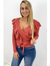CORAL - 'RUFFLE MILA' - SOFT TOUCH KNIT WIKKEL TOP