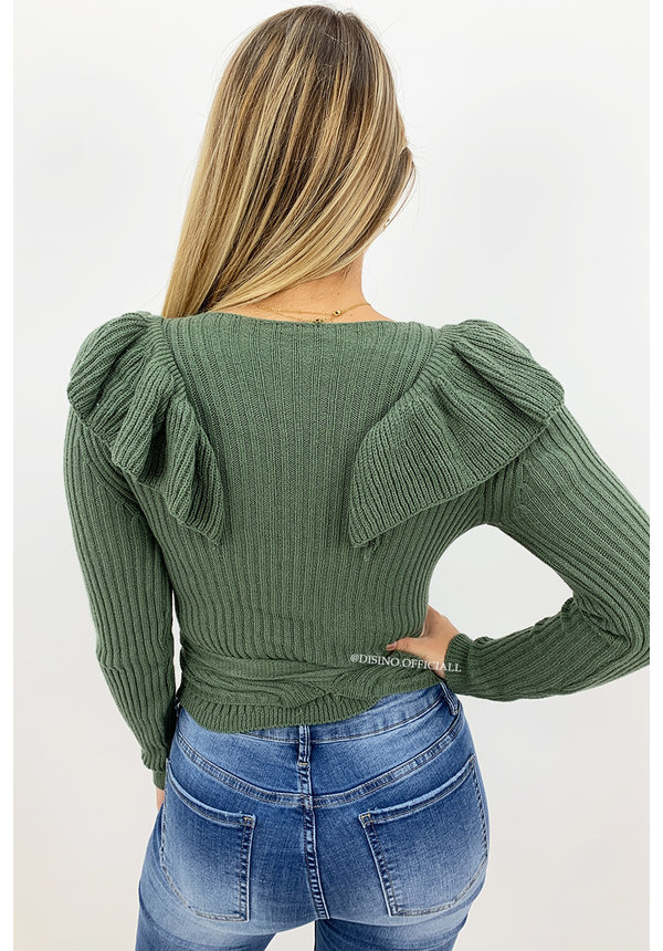 ARMY GREEN - 'RUFFLE MILA' - SOFT TOUCH KNIT WIKKEL TOP