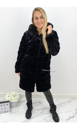 BLACK - 'SOPHIE LONG' - LONG SUPER SOFT FAUX FUR COAT