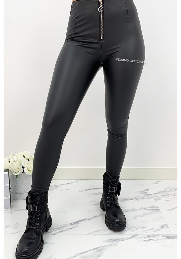 MAT BLACK - 'KHLOE LEATHER' - HIGH WAIST TREGGING PANTS WITH ZIP