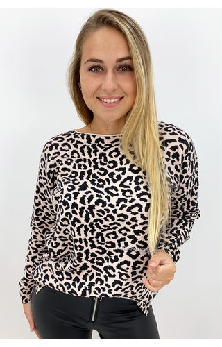 SOFT PINK - 'LOUISA' - SOFT TOUCH LEOPARD COMFY SWEATER