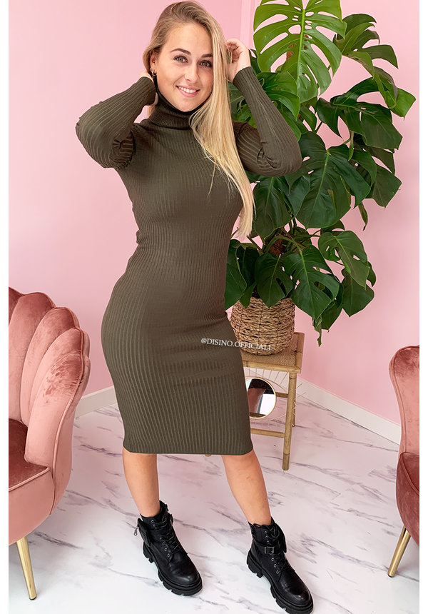 KHAKI GREEN - 'DEBBIE DRESS' - BASIC LONG RIBBED COL DRESS