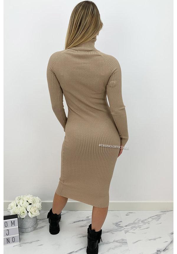 TAUPE - 'DEBBIE DRESS' - BASIC LONG RIBBED COL DRESS