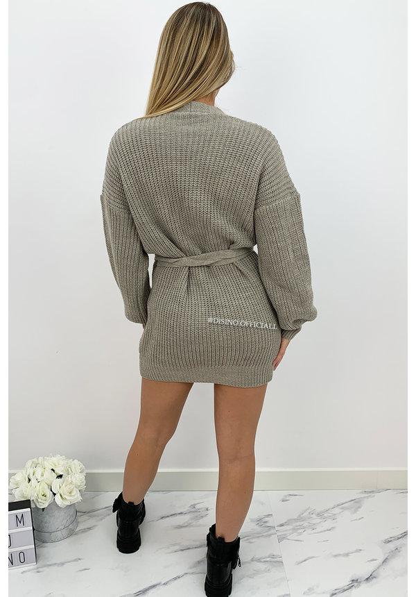SAND - 'COZY DRESS' - KNITTED WIKKEL VEST DRESS
