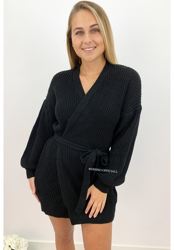 BLACK - 'COZY DRESS' - KNITTED WIKKEL VEST DRESS